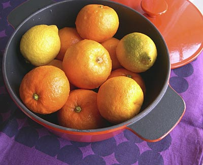 Seville oranges about to be poached