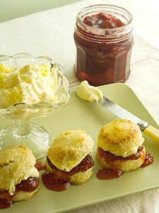 All homemade - scones, clotted cream and strawberry and vanilla jam