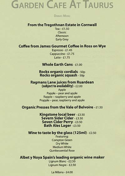 The Garden Cafe Menu