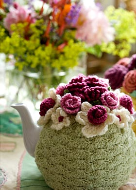 summer flowers and tea cosy