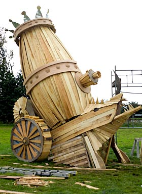 the wooden cannon under construction
