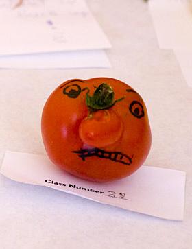 a funny looking tomato