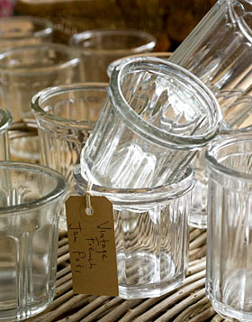 vintage french jam jars at The Laundry
