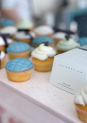 crumbelina cupcakes on mantel