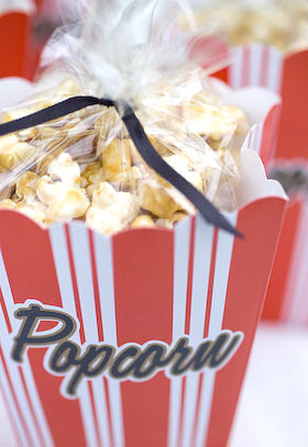 caramel popcorn in 50's style boxes