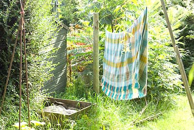 blanket drying on a washing line