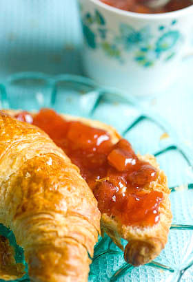 jam with croissant for breakfast