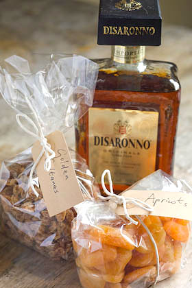 dried apricots golden sultanas and Amaretto - the raw ingredients