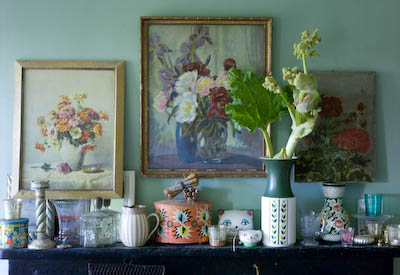 rhubarb as a cut flower on my messy mantelpiece