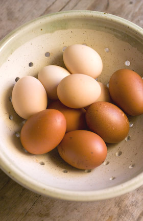 a stoneware bowl of free range eggs