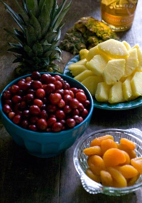 Cranberry apricot and pineapple Christmas jam