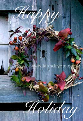 Christmas wreath fashioned from garden cuttings